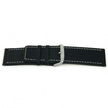 Prawdziwy Skóra Pasek Do Zegarka Czarny Z Biały Szwy 26mm Ex-H79