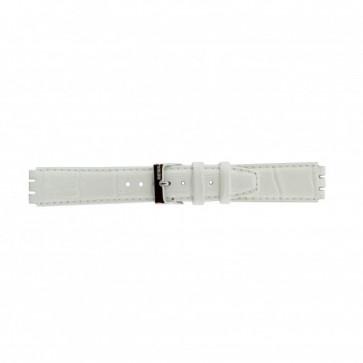 Strap Dla Swatch Prawdziwy Skóra Biały 17mm 21414