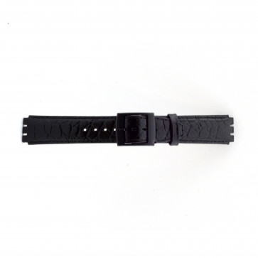 Strap Dla Swatch Krokodyla Czarny 17mm Pvk-Sc10.01