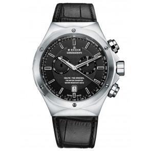 Edox horlogeband 10107 Leder Zwart + zwart stiksel