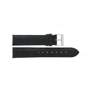 Edox horlogeband 27028-2 (Staal) Leder Zwart 17mm + standaard stiksel