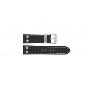 Dutch Forces horlogeband 35C010204 / 12753JS/02 Leder Zwart 24mm + wit stiksel