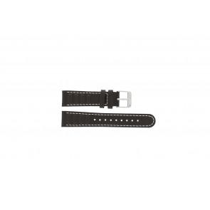 Olympic horlogeband 89JAL004 Leder Bruin 18mm + wit stiksel