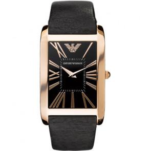 Armani horlogeband AR2034 Leder Zwart 23mm
