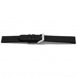 Horlogeband B113Z Leder Zwart 10mm + zwart stiksel