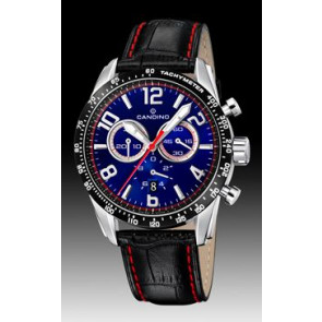 Candino horlogeband C4429-2 Leder Zwart + rood stiksel