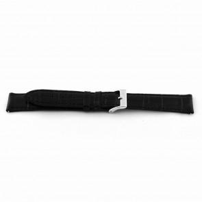 Horlogeband EX-D015 Leder Zwart 14mm + zwart stiksel