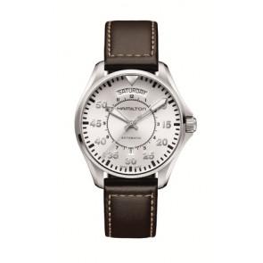 Pasek do zegarka Hamilton H64615555 Skórzany Ciemny brąz 20mm