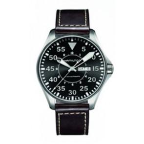 Pasek do zegarka Hamilton H64715535 Skórzany Ciemny brąz 22mm