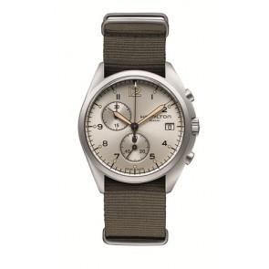 Pasek do zegarka Hamilton H76552955 Tekstylia Kolor ciemnoszary 22mm