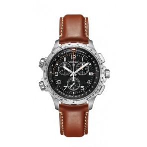 Pasek do zegarka Hamilton H77912535 Skórzany Brązowy 22mm