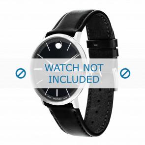 Movado horlogeband 0607086 Leder Zwart 20mm + standaard stiksel