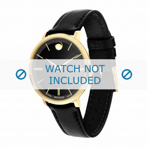 Movado horlogeband 0607091 Leder Zwart 16mm + standaard stiksel