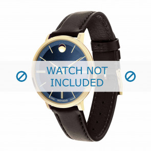 Movado horlogeband 0607092 Leder Donkerbruin 16mm + standaard stiksel