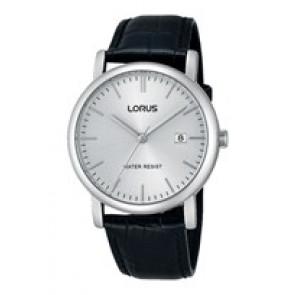 Lorus horlogeband RG839CX9 / VJ32 X246 / RHG008X Leder Zwart 20mm + zwart stiksel