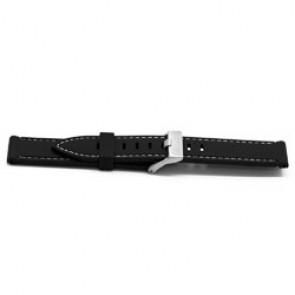 Pasek Do Zegarka Guma 22mm Czarny + Biały Szwy Ex Xh18