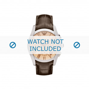 Armani horlogeband AR1634 Leder Bruin + bruin stiksel