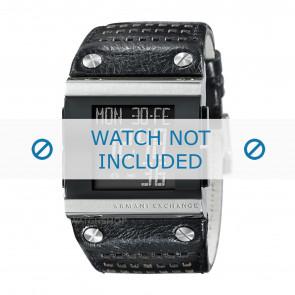 Armani horlogeband  AX1066 Leder Zwart + zwart stiksel