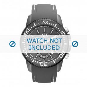 Armani horlogeband AX1202 Rubber Grijs + wit stiksel