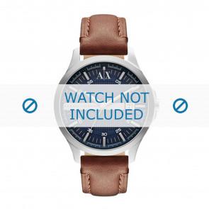 Armani horlogeband AX2133 Leder Bruin + bruin stiksel