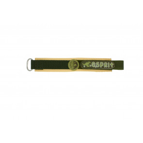 Esprit horlogeband ES101333002U Klittenband Groen 16mm + bruin stiksel