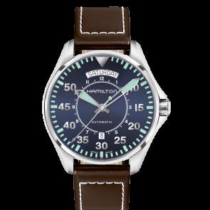 Pasek do zegarka Hamilton H64615545 Skórzany Ciemny brąz 20mm