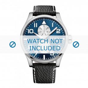 Hugo Boss horlogeband HB-88-1-14-2734 / HB1513084 Leder Zwart 24mm + wit stiksel