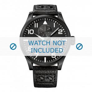 Hugo Boss horlogeband HB-88-1-34-2733 / HB1513083 Leder Zwart 24mm + zwart stiksel