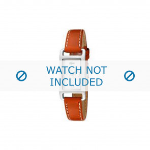 Lacoste horlogeband 2000310 / LC-05-3-14-0006 Leder Oranje 12mm + wit stiksel