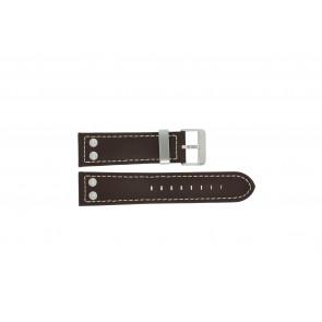 Dutch Forces horlogeband 35C010202 Leder Bruin 24mm + wit stiksel