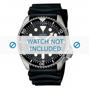 Seiko horlogeband 7S26-0020-SKX007K1 Rubber Zwart 22mm