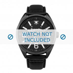Superdry horlogeband SYG199BB Leder Zwart + zwart stiksel