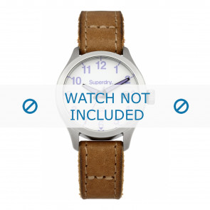 Superdry horlogeband SYL114TV Leder Bruin + bruin stiksel
