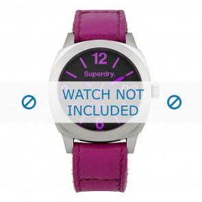 Superdry horlogeband SYL115V Leder Roze + standaard stiksel