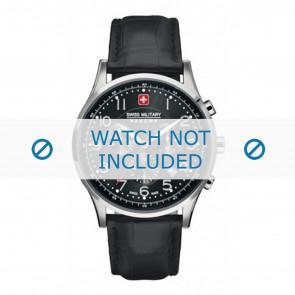 Swiss Military Hanowa horlogeband 06-4187.04.007 Leder Zwart 22mm + zwart stiksel