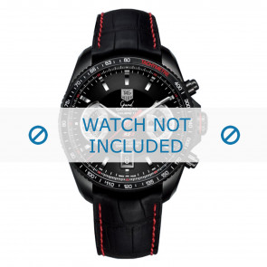 Tag Heuer horlogeband FC6237 Leder Zwart + rood stiksel