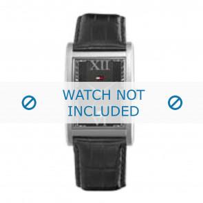 Tommy Hilfiger horlogeband TH-67-1-14-0759 / TH1710175 Leder Zwart + zwart stiksel