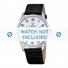 Festina horlogeband F6851-2 / F6851-3 / F6851-4 Croco leder Zwart 21mm + zwart stiksel
