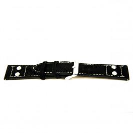 Pasek do zegarka Uniwersalny I167 Skórzany Czarny 24mm