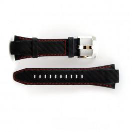 Pasek do zegarka Seiko 7T62-0ED / SNA633P1 Skórzany Czarny 15mm