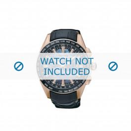 Pasek do zegarka Seiko 8X22-0AE0 / SSE105J1 Skórzany Czarny 22mm