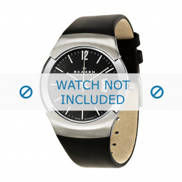 Pasek do zegarka Skagen 981XLSLB Skórzany Czarny 24mm