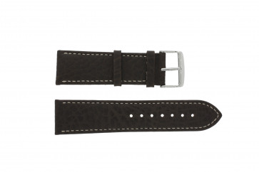 Horlogeband 307.02 Leder Bruin 18mm + wit stiksel