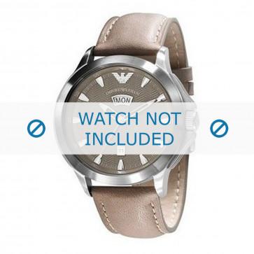Armani horlogeband AR0632 Leder Lichtbruin 23mm + bruin stiksel