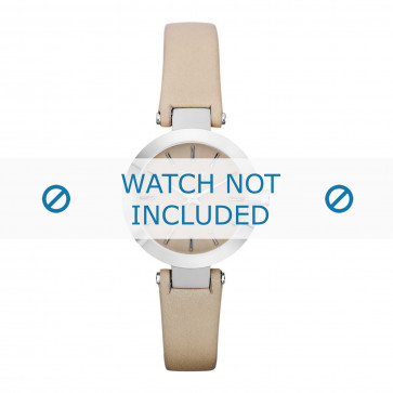DKNY horlogeband NY8783 Leder Cream wit / Beige / Ivoor 13mm + standaard stiksel