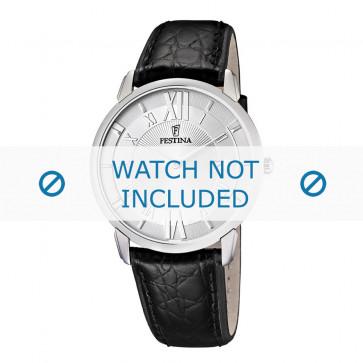 Festina horlogeband F6813-1 / F6813-2 Croco leder Zwart 21mm + zwart stiksel