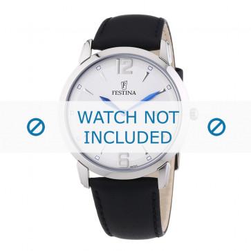 Festina horlogeband F6813-3 / F6813-4 / F6813-6 Leder Zwart 21mm + zwart stiksel