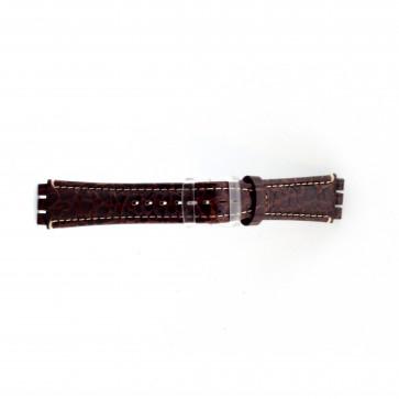 Prawdziwy Skóra Pasek Do Zegarka Dla Swatch Krokodyla Brązowy 19mm Es- 2.02