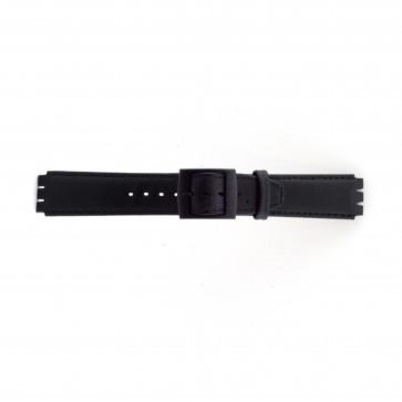 Pasek do zegarka Swatch SC11.01 Skórzany Czarny 17mm