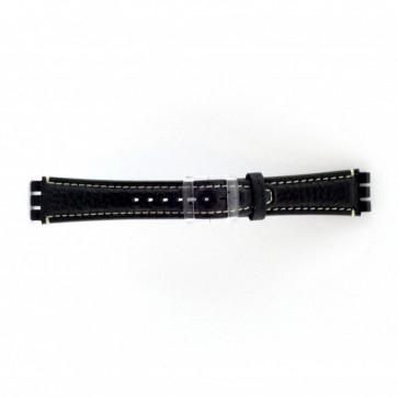 Prawdziwy Skóra Pasek Do Zegarka Dla Swatch Ciemny Niebieski / Gray 19mm Es- 3.05